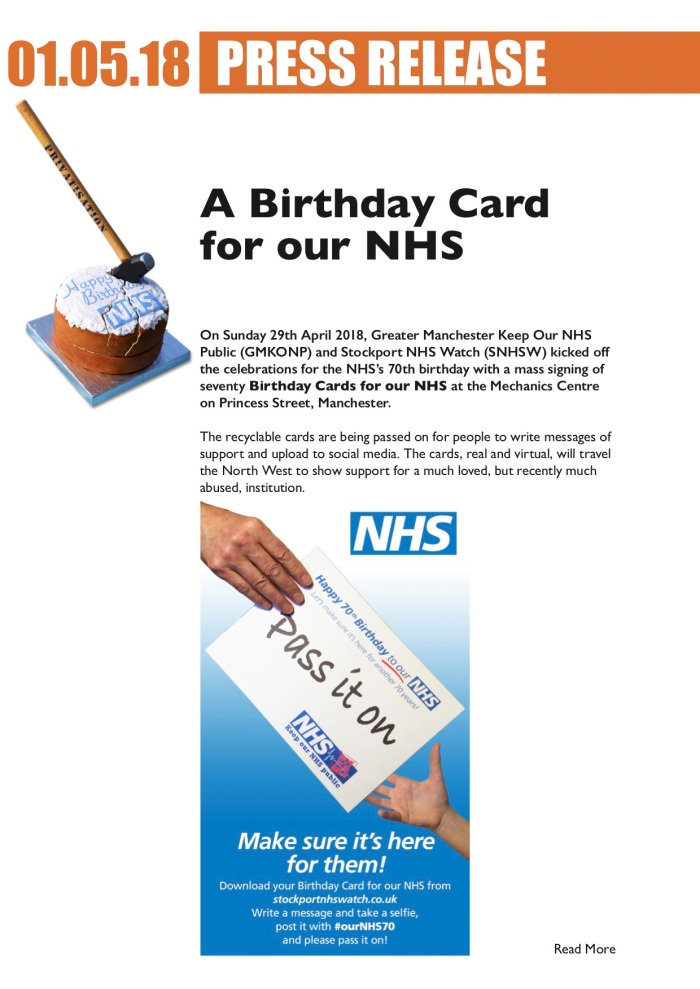 KONP A Birthday Card For Our NHS Campaign Details ourNHS70